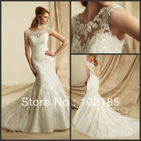 Graceful Bridal Wedding Gown Appliqued Bateau Beaded Cap Sleeve Organza Backless Chapel Train Mermaid Woman Wedding Dresses
