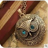 2014 Europen Fashion Vintage diamante owl Circular box alloy Necklace Freeshipping/Wholesale HL03007