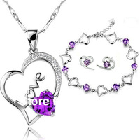 Fashon Jewelry Lover's Heart Amethyst 925 Silver Jewelry Set(Women's Pendant )