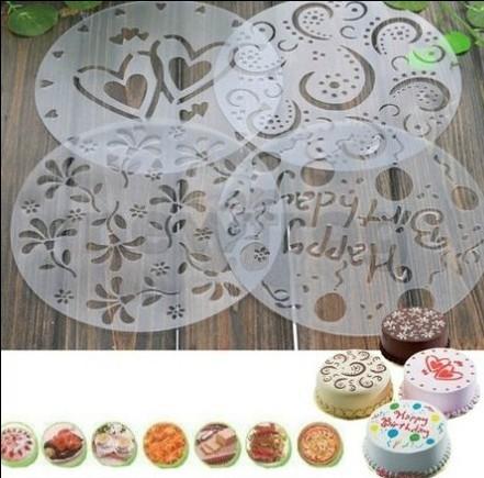 4pcs cake spray mold powdered sugar sieve printing film coffee tiramisu spray mode(China (Mainland))