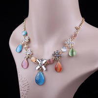 Women Lady Short Paragraph Drop Shape Opal Pendant Rhinestone Cross Necklace,