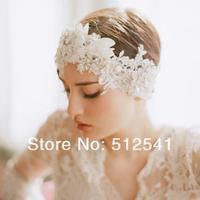 Romance Girls Women Bridal Headwear Diamond Jewelry Pearl Lace Hair Wedding Bridal Accessories KH528