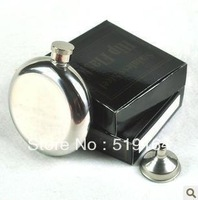 Free Shipping! Ourdoor Portable 5OZ Liquor Round Mirror Glazing Hip Flask Wine Pot Flagon with Funnel