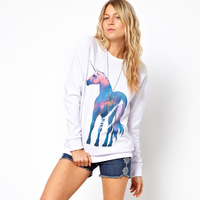 Free shipping women's unicorn flowerier steed multicolour pattern print o-neck long-sleeve t-shirt white