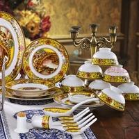 Unique quality caici powder 56 bone china bowl dinnerware set