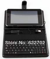 Free shipping USB Keyboard Leather Case Cover for 7 inch Tablet PC