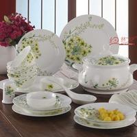Romantic eco-friendly porcelain 56 bone china glaze tableware microwave oven bowl set