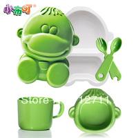 Free shipping Child cartoon tableware baby dish bowl glass spoon fork 5 piece set