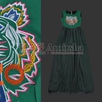 2013 fashion multicolour embroidery tiger head cotton yarn green vest full dress star