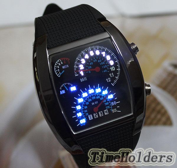Perfect Gift Fashion Design Blue LED Light Dot Matrix Mens Sport Wrist Watch(China (Mainland))