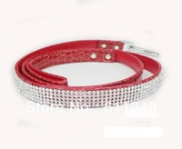 Free Shipping NEW Pet Products Dog PU Leather Leashes For Small Medium Dogs Rhinestone Crystal Jeweled Lead Pulling Rope Red