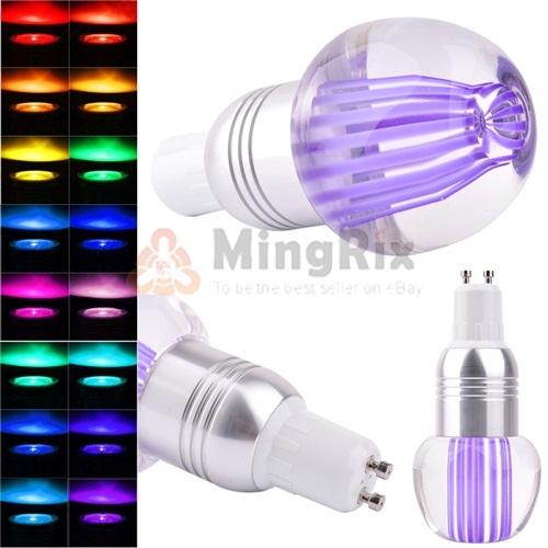 3W GU10 16 COLOR CHANGING RGB LED LIGHT CRYSTAL APPLE SHAPE BULB LAMP AC 85-265V(China (Mainland))
