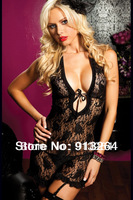 2013 new Women sexy lingerie 3XL black lace ribbon lace collar sleeveless dress lady sexy sleepwear