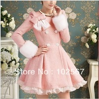 free shipping_ Pink sweet bow lace decoration expansion bottom woolen medium-long overcoat huave S\XL