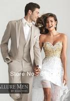 Free shipping!custom made cheap well Sell Lapel champagne/Wedding Groom wear Tuxedos/Groomsmen Men's Suit!Best bridegroom dress