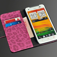 Luxury Stand Function Leopard Pattern PU Cover Flip Leather Case for HTC X920e Butterfly with Credit card and bill holsters