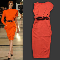 New Runway Fashion Irregular Neckline Ruffle Shoulder Orange Over-the-knee Fitted Dress Elegant Dresses SS13299