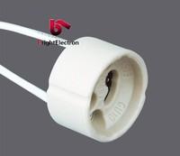 Free Shipping Ceramic GU10 Fixture Spotlight Fixture Holder Base Socket Wire Connector fitting GU10 Lamp Holder