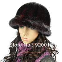 Free Shipping 2013 Women's Noble Elegant Mink Fedoras Mink Hat Female Mink Fur Hat Wine Red For Ladies High Quality