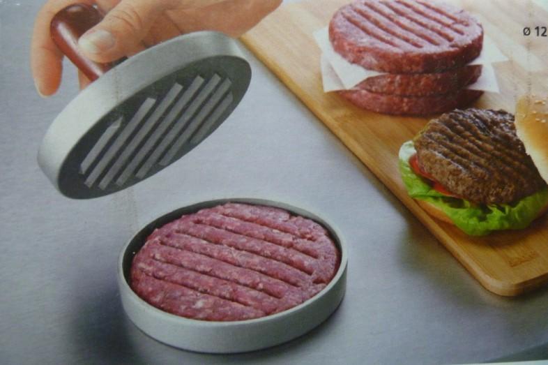 12cm Metal Hanmburger Meat Press , single hole hamburger patties hamburger grill plate High quality(China (Mainland))