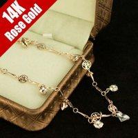 Y56 2014 Trendy brand Gold plate women Rose Gold Vintage Zircon large character Heart Bangle Bracelet