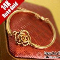 Y70 Trendy brand Gold plate women Vintage Vintage sweet edition pierced  Camellia Flower Bangle  fashion Jewelry