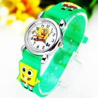 Reasonable Price 3D Black Cartoon Fashion Spongebob Design Children Kids Watch With Free Shipping