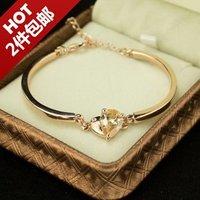 Y61 Trendy 14k brand plate women VintageNew rose gold pop gold zircon ocean Heart Bangle Bracelet Jewelry