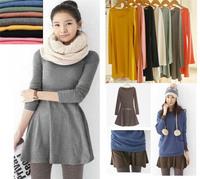 2014 Fashion Europe and America Elegant Ladies Autumn Basic Dresses Korean Novelty Women Solid Color Long Sleeve Dress 10 Colors