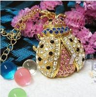 Metal Golden Diamond Bling Bling Crystal beetle Usb Flash Drive U Disk Christmas present Free shipping