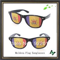 Moldova flag sunglasses promotion sticker sunglasses Sun Glasses Fun Party Pin Hole Wayfarer Sunglasses Cartoon Eye Design