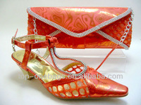 NEW WOMENS HIGH HEELS  PARTY /EVENING WEDDING SHOES with MATCHING CLUTCH BAG Orange
