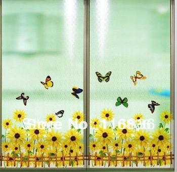 Free shipping new 2014 product for decorative sunflower with butterfly  Home Decor Wall Stickers for room diy footline sticker