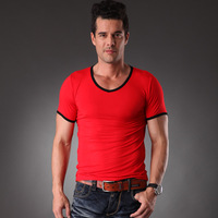 2013 spring and summer bamboo fibre smoothens antibiotic cool male T-shirt short-sleeve shirt small V-neck t-shirt