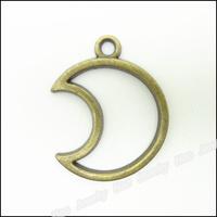 100pcs Vintage Charms Moon Pendant Antique bronze Zinc Alloy Fit Bracelet Necklace DIY Metal Jewelry Findings