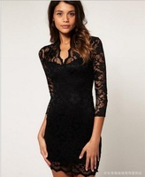 Free shipping Sexy, cultivate one's morality short dress v-neck 7 minutes of sleeve lace package hip dress lace dress ZHJ257