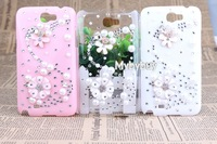 wholesale 3D Bling Pearl S-Line Flower Diamond Case For Samsung Galaxy Note 2 N7100