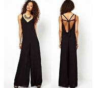 Free shiping women sexy design jumpsuit cross back deep V-neck cutout shoulder strap trouser black long jumpsuit dropshipping