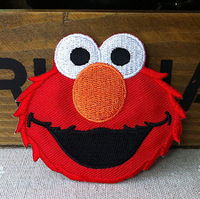 Embroidered red Sesame Street Elmo Cloth Iron On Patch Sew On Applique Badge Children Cartoon Patch  DIY accessory 10pcs/lot