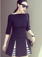 Elegance word collar organza stitching dress for women autumn big size dress