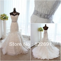 2014 custom made organza lace Bridal Gown Real sample beading sashes mermaid Wedding Dress