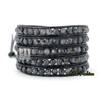 New Arrival Labradorite Stone Leather Wrap Bracelet Natural Stone Bracelet Leather Jewelry Bracelet for lovers