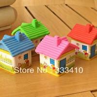 Free Shipping 24pcs/lot Cartoon House Eraser Modelling Rubber Super Cute! Student Award Free Shipping
