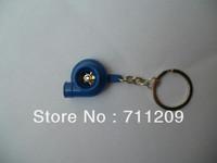 BLUE  SPINNING TURBO TURBOCHARGER KEYCHAIN KEY CHAIN RING T3 T4 T25 KEYRING BLUE
