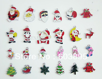 R955651C! hristmas Wholesale lots 200PcsXSilver-tone Mix Unique Enamel Christmas Charms Pendants EKmix1