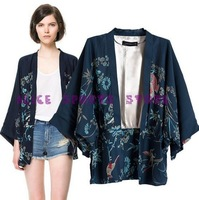 New Fashion Ladies' Vintage No-button Phoenix Printed loose Janpan Style kimono coat jacket outwear 2013 Women casual slim tops