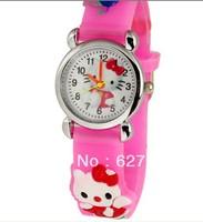 Silicone Pink Cute Hello Kitty Watch Cartoon 3D Cartoon Children Kids Girls Quartz Watches Gift Free Shipping