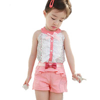 Free Shipping! 2014 New Summer Kids Clothing set,Childre Girl Clothes Sets T shirt and shorts pants,girls print suit 5pcs/lot