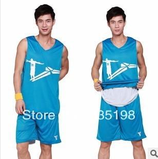 Free Shipping 100% polyester reversible basketball jerseys set for men sportwear