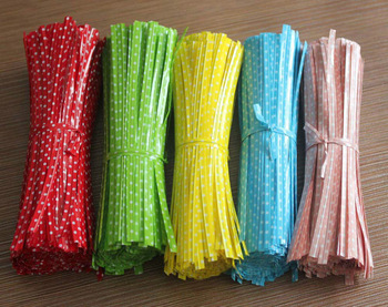 Free shipping+Round dot Metallic Twist Ties Wire for Cello Bags Cake Pops 1000pcs/lot